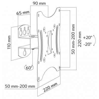 """Tilting Wall Mount for TV 23-42"""" Black - Techly - ICA-LCD 902-5"""