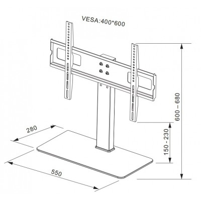 """Slim Universal Table Mount for TV from 32"""" to 55"""" - Techly - ICA-LCD S05L-4"""