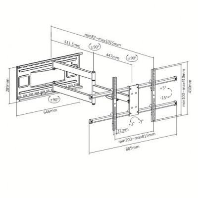 """Wall Bracket Extendable Arm up to 1015 mm for LCD 43-80"""" Black - Techly - ICA-PLB 490-11"""