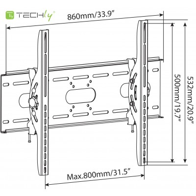"""Tilting Wall Mount for TV LED LCD 42-80"""" Black  - Techly - ICA-PLB 890-3"""