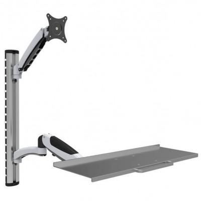 Wall-mounted workstation with monitor support and extendable keyboard shelf - Techly - ICA-PLW 02-1