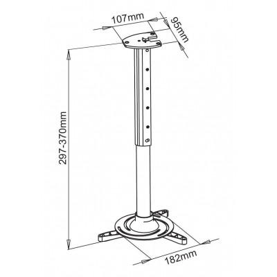 Projector Ceiling Stand Extension 30-37 cm Black - Techly - ICA-PM 102BK-2