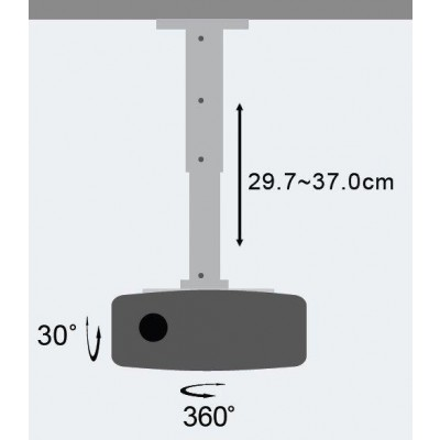 Projector Ceiling Stand Extension 30-37 cm Black - Techly - ICA-PM 102BK-3