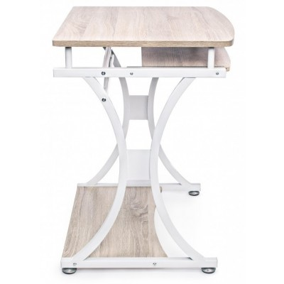 Compact PC Desk with Removable Drawer White/Oak - Techly - ICA-TB 328O-4
