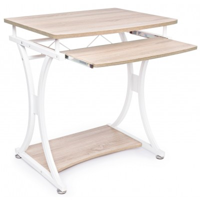 Compact PC Desk with Removable Drawer White/Oak - Techly - ICA-TB 328O-1
