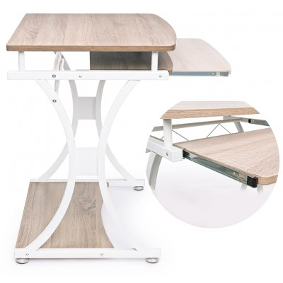 Compact PC Desk with Removable Drawer White/Oak - Techly - ICA-TB 328O-2