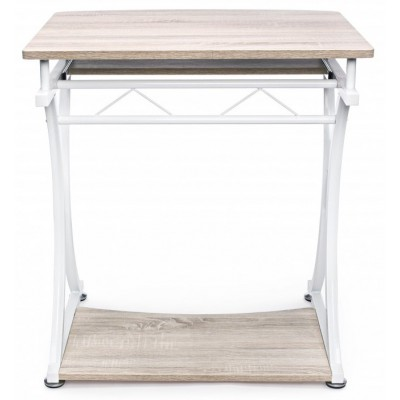 Compact PC Desk with Removable Drawer White/Oak - Techly - ICA-TB 328O-6