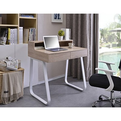 Computer Desk Sled Legs White and Oak Appearance - Techly - ICA-TB 3532B-5