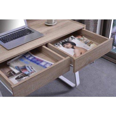 Computer Desk Sled Legs White and Oak Appearance - Techly - ICA-TB 3532B-3