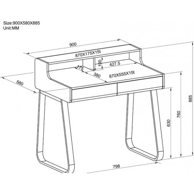 Computer Desk Sled Legs White and Oak Appearance - Techly - ICA-TB 3532B-6
