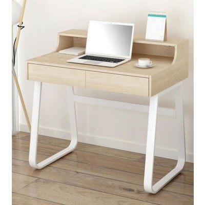 Computer Desk Sled Legs White and Oak Appearance - Techly - ICA-TB 3532B-2