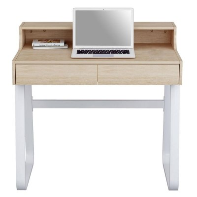 Computer Desk Sled Legs White and Oak Appearance - Techly - ICA-TB 3532B-1