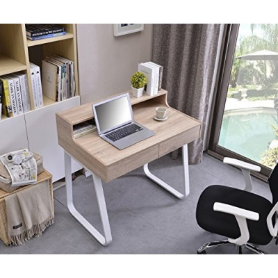 Computer Desk Sled Legs White and Oak Appearance - Techly - ICA-TB 3532B-4