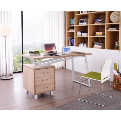 Computer Desk with Three Drawers White/Oak - Techly - ICA-TB 3533O-2
