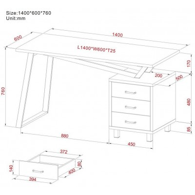 Computer Desk with Three Drawers White/Oak - Techly - ICA-TB 3533O-7