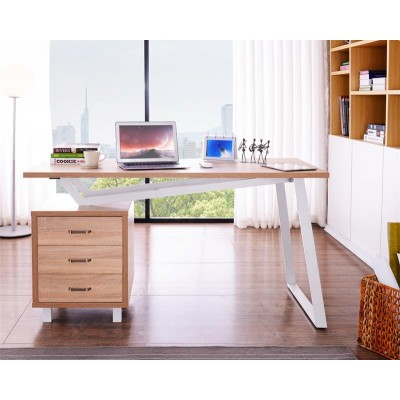 Computer Desk with Three Drawers White/Oak - Techly - ICA-TB 3533O-1