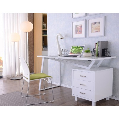 Computer Desk with Three Drawers Glossy White - Techly - ICA-TB 3533W-2