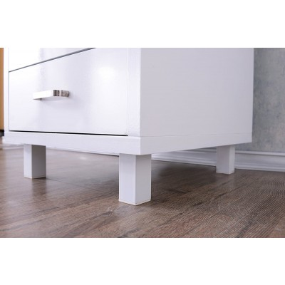 Computer Desk with Three Drawers Glossy White - Techly - ICA-TB 3533W-3