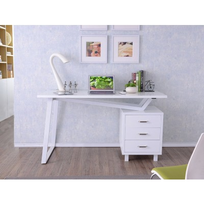 Computer Desk with Three Drawers Glossy White - Techly - ICA-TB 3533W-1