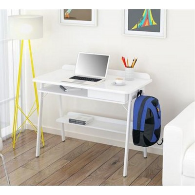 Compact Computer Desk White and Oak Aspect - Techly - ICA-TB 3581-4