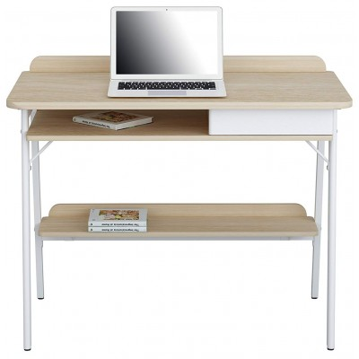 Compact Computer Desk White and Oak Aspect - Techly - ICA-TB 3581-1