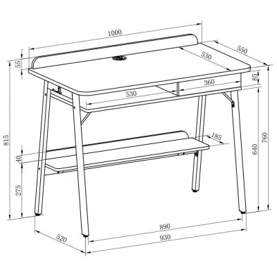 Compact Computer Desk White and Oak Aspect - Techly - ICA-TB 3581-5