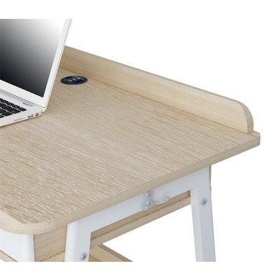 Compact Computer Desk White and Oak Aspect - Techly - ICA-TB 3581-3