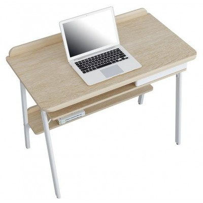 Compact Computer Desk White and Oak Aspect - Techly - ICA-TB 3581-2