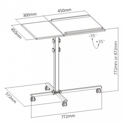 Height-Adjustable Two-Shelf Laptop and Projector Trolley - Techly - ICA-TB TPM-2-10