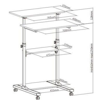 Compact Height-Adjustment Mobile Cart - Techly - ICA-TB TPM-3-4