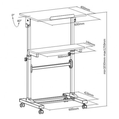 Mobile Presentation Desk Cart with height adjustable and tilting shelf   - Techly - ICA-TB TPM-4-2