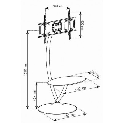 "Floor Support with Round Base and Shelf for LCD/LED TV 32-70"" - Techly - ICA-TR13-3"