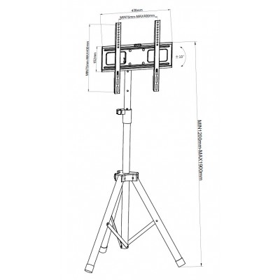 """Universal Floor Tripod Stand for 17-60"""" TV - Techly - ICA-TR17T2-2"""