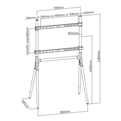"""Floor Stand for LCD/LED/Plasma TV 49-70"""" Tripod Style - Techly - ICA-TR19-3"""