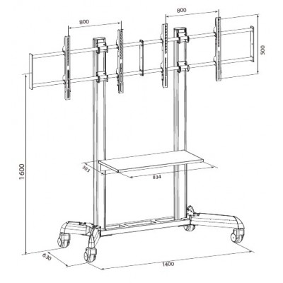 """Floor Stand for 2 LCD TVs/LEDs 32-70"""" - Techly - ICA-TR22-4"""