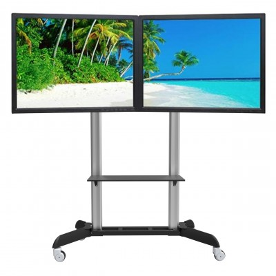 """Floor Stand for 2 LCD TVs/LEDs 32-70"""" - Techly - ICA-TR22-3"""