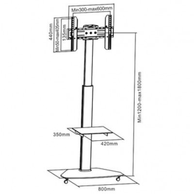 """37""""-70"""" Floor Stand with Shelf LCD / LED / Plasma - Techly - ICA-TR3-3"""