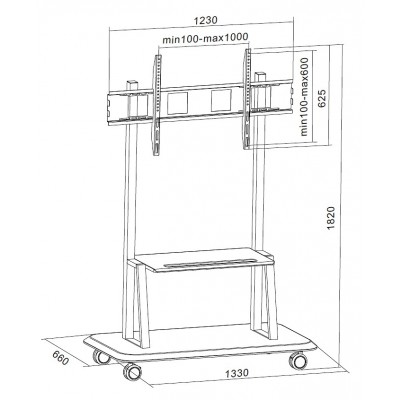 """Floor Support with Shelf for LCD/LED/Plasma TV 55-120"""" - Techly - ICA-TR31-4"""