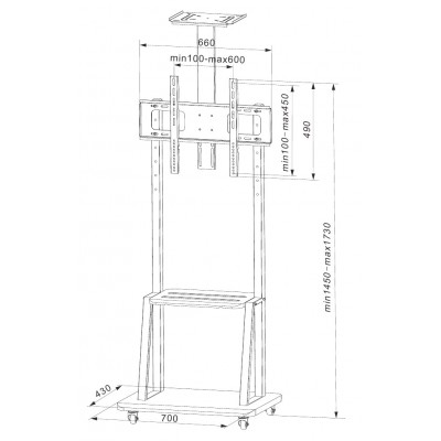 "Floor Support with Shelf for LCD/LED/Plasma TV 32-70"" - Techly - ICA-TR33-5"