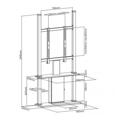"""Floor Stand for LCD/LED/Plasma TV 45-55"""" - Techly Np - ICA-TR34-5"""