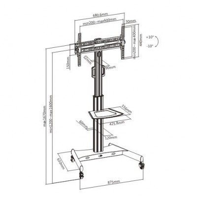 "Trolley Floor Support with Shelf LCD TV/LED 32-65""  - Techly - ICA-TR35-6"