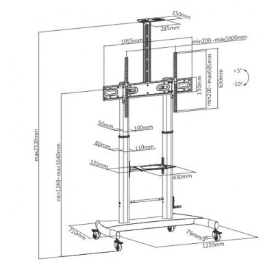 Steel Trolley Floor Support with adjustable height, for TV from 60'' to 100'' - Techly - ICA-TR36-2