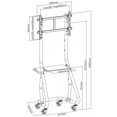 Trolley Floor Support for TV from 37'' to 80'' - Techly - ICA-TR37-2