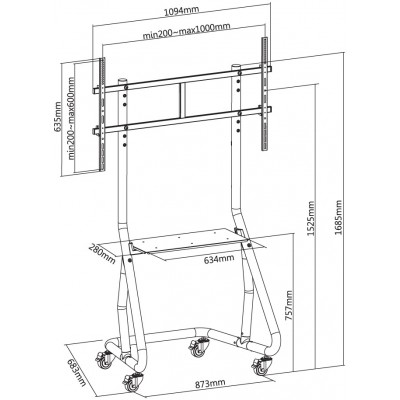 Trolley Floor Support for TV from 60'' to 105'' - Techly - ICA-TR38-2