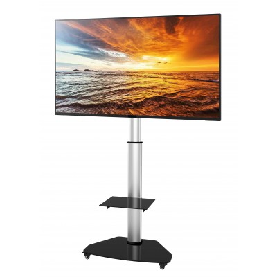 "Floor Stand with Shelf Trolley TV LCD/LED/Plasma 37-70"" Silver - Techly - ICA-TR3SL-1"
