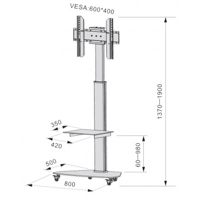 "Floor Support with Shelf Trolley TV LCD/LED/Plasma 37-70"" White - Techly - ICA-TR3WH-4"