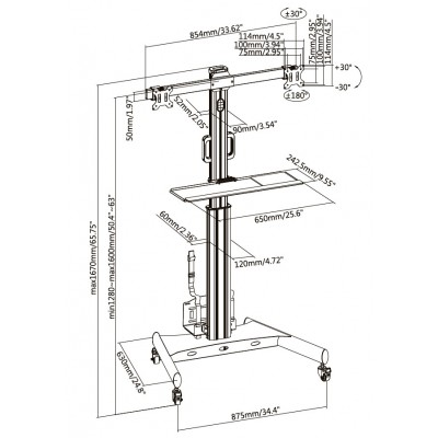 """Floor Trolley with Shelf and CPU Holder for 2 LCD/LED/Plasma TVs 13-32"""" - Techly - ICA-TR42-13"""