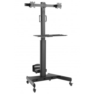 """Floor Trolley with Shelf and CPU Holder for 2 LCD/LED/Plasma TVs 13-32"""" - Techly - ICA-TR42-1"""