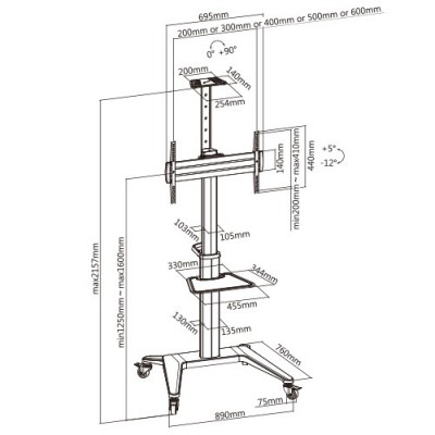 """Floor Stand for TV from 37"""" to 70"""" White - Techly - ICA-TR48W-9"""