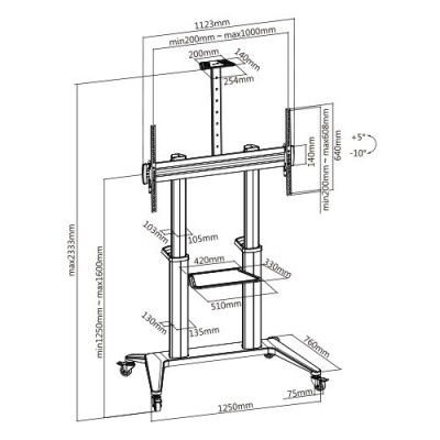 """Floor Stand for TV from 70"""" to 120"""" White - Techly - ICA-TR49W-6"""